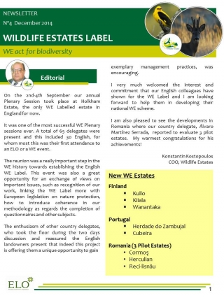 Wildlife Estates Newsletter Nr 4