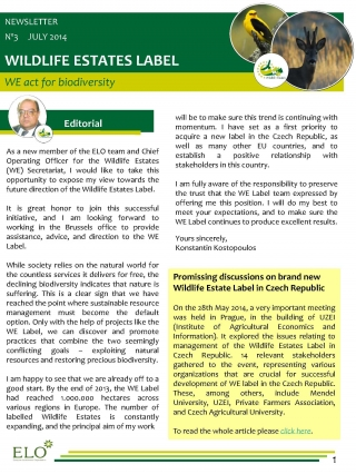 Wildlife Estates Newsletter Nr 3.